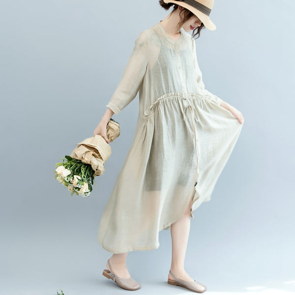 Fashion Button Down Maxi Beige Dresses Women Loose Clothes Q2566