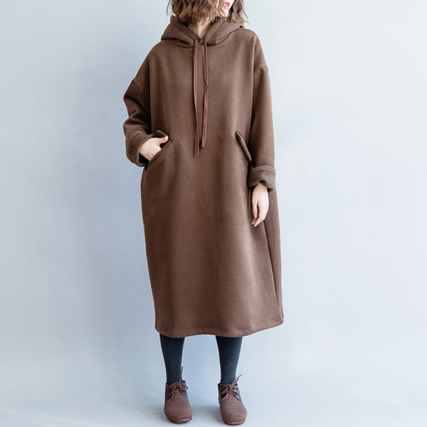 Casual Hoodie Coffee Brushed Cotton Fleece Dresses For Women Q5113