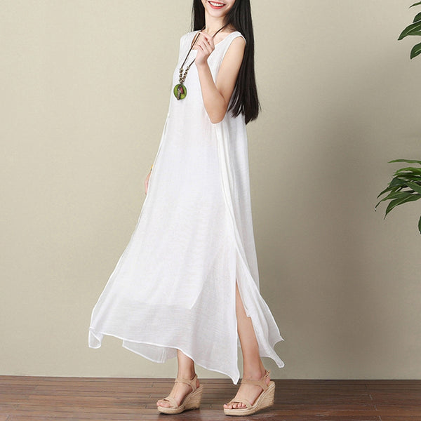 Casual Sleeveless Double Layer White Linen Dress Q1651 - FantasyLinen