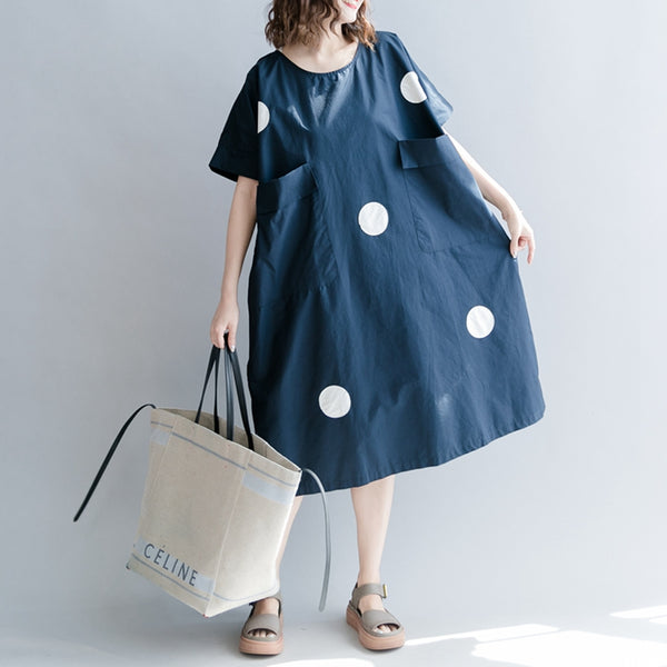 Cute Dot Cotton Long Dresses Women Casual Clothes Q7057A