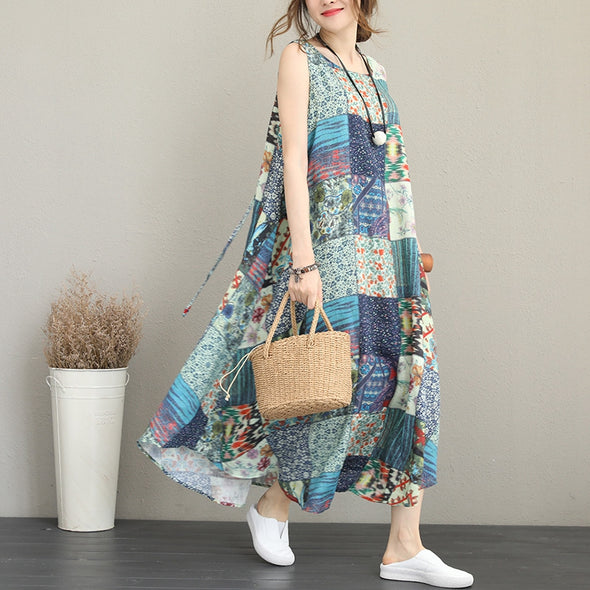 Casual Print Blue Maxi Sundress Women Linen Clothes Q1176