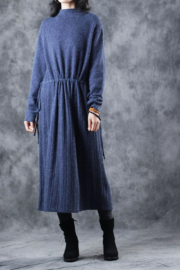 Blue High Neck Long Sweater Dresses For Women Q2915