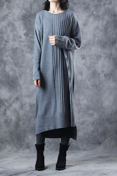 Casual Gray Knitted Sweater Maxi Base Dresses Women Loose Clothes Q1912