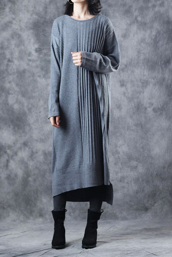 Casual Gray Knitted Sweater Maxi Base Dresses Women Loose Clothes