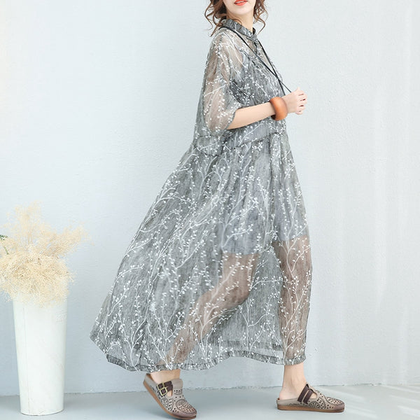 National Vintage Silk Printed Button Down Silk Casual Loose Long Dress 7118