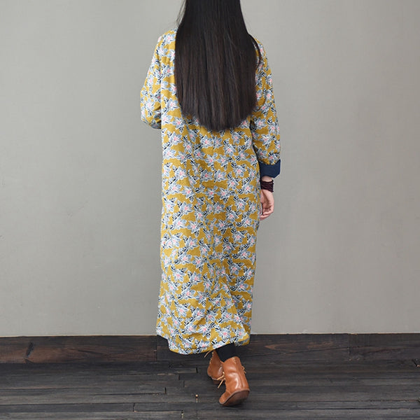 Yellow Floral Cotton Linen Thicken Casual Dresses For Women M916