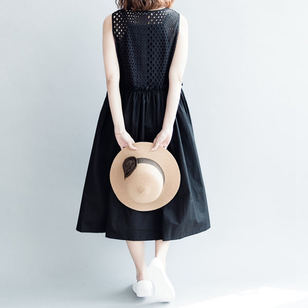 Cute High Waist Black Doll Dress For Women Q30411