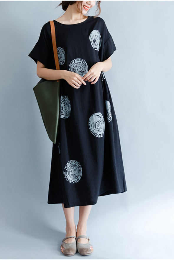 A Line Cotton Polka Dot Women Black Shift Dress Q1648 - FantasyLinen