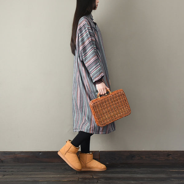 Women Vintage Striped Thicken Dresses For Winter L1836