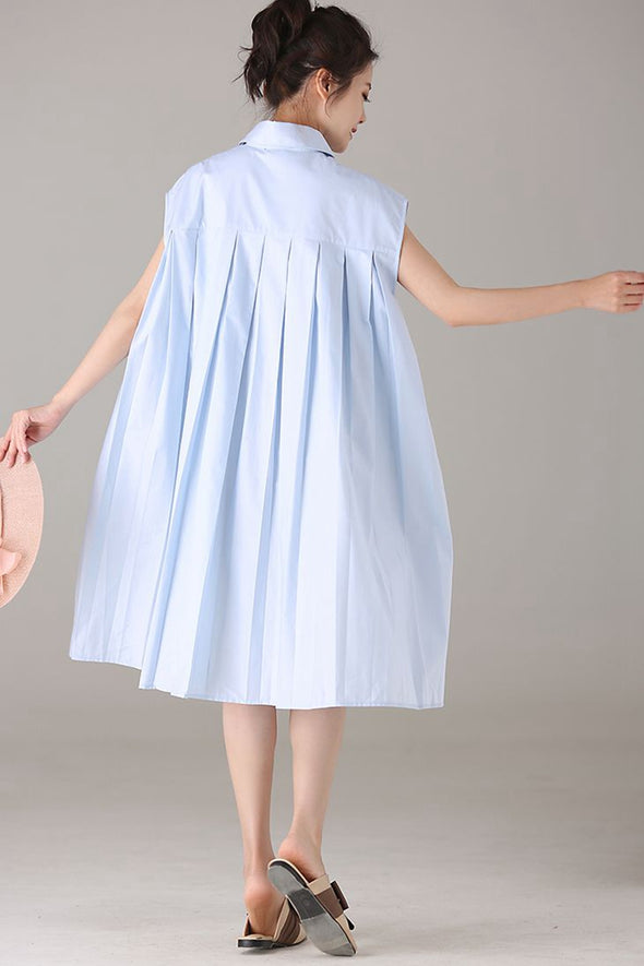 Casual Sleeveless Blue Dresses Women Fashion Clothes Q2096