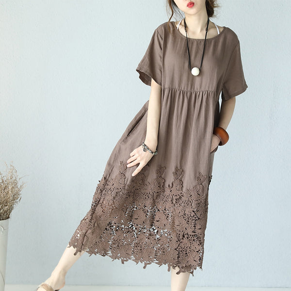 Casual Loose Fitting Round Neck Lace Linen Long Dress Q9901 - FantasyLinen