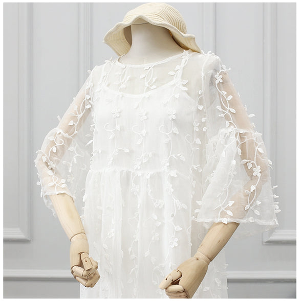 Cute White Chiffon Lace Doll Dress Two Piece Clothes Q1557