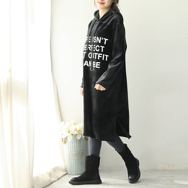 Korea Style Hoodie Brushed Loose Fleece Dresses For Women Q1791