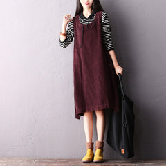 Women Casual Purple Corduroy Strap Dresses For Winter Q2311