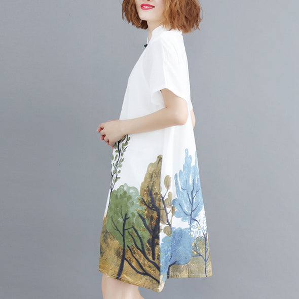 Chinese Style White Print Dresses Women Linen Outfits Q9078