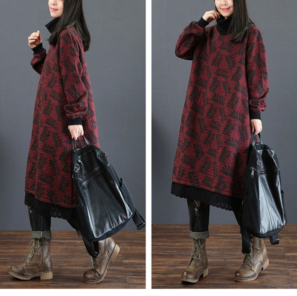 Loose High Neck Print Cotton Dresses Women Casual Clothes 5257