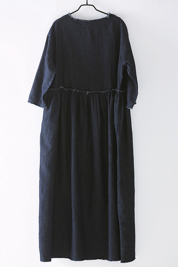 Casual Blue Denim Maxi Dresses For Women Q2133