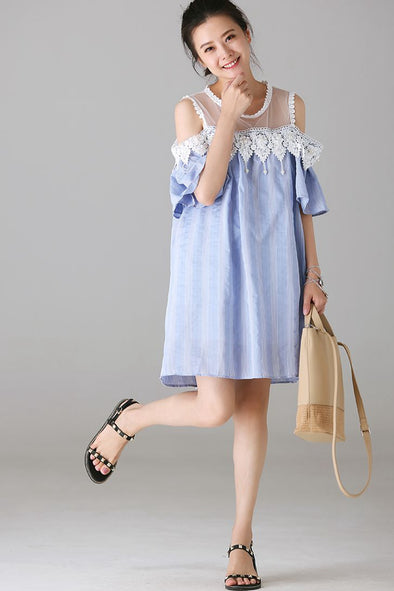 Cute Blue Quilted Dresses Women Fashion Clothes Q2102