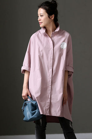 Women Cotton Art Plus Size Long Shirt With Sleeves C983 - FantasyLinen