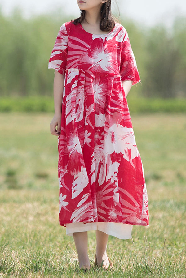 Women Vintage Quilted Linen Long Dress Q70517