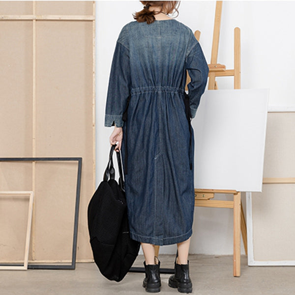 Vintage Loose Blue Denim Maxi Dresses Women Casual Clothes For Fall Q2214