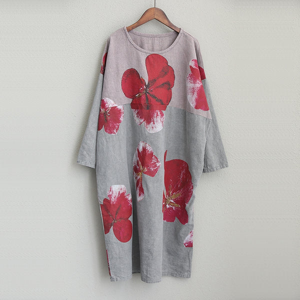 Vintage Korea Style Print Cotton Dresses Women Fall Clothes Q1658