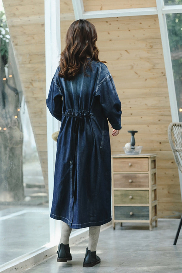 Loose Blue Denim Maxi Dresses Women Cowboy Clothes Q8925