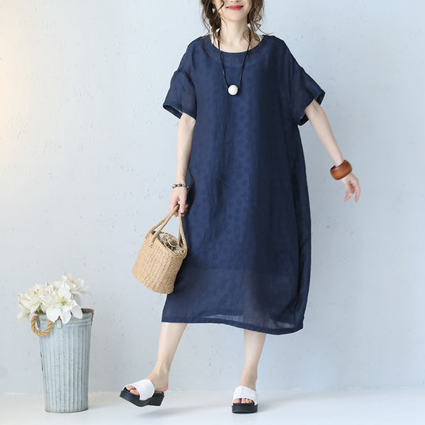 Summer Women Round Neck Linen Blue Long Dresses Q1092