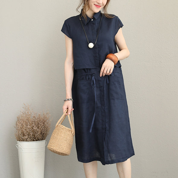 Elegant Blue linen Dresses Women Casual Clothes Q1173