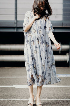 Women Loose Print Chiffon Dresses Summer Fashion Clothes Q8235