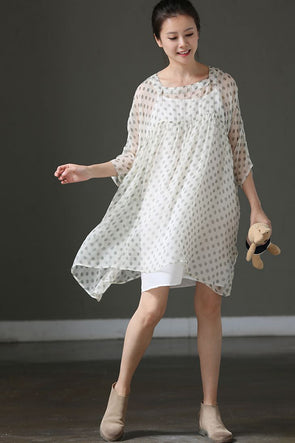 Summer Polka Dot Casual Dresses Women Silk Outfits Q1788