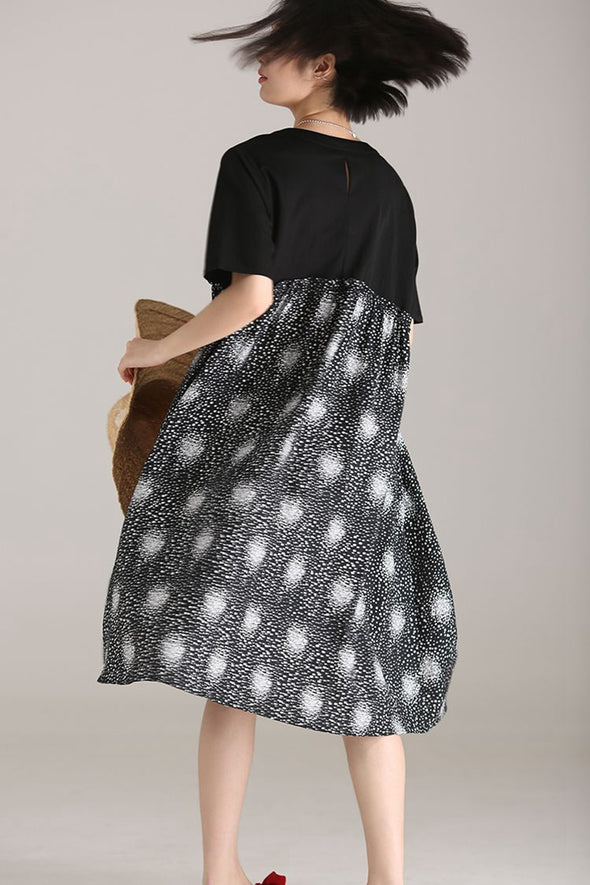 Plus Size Quilted Thin Black Dresses Women Loose Clothes Q8926