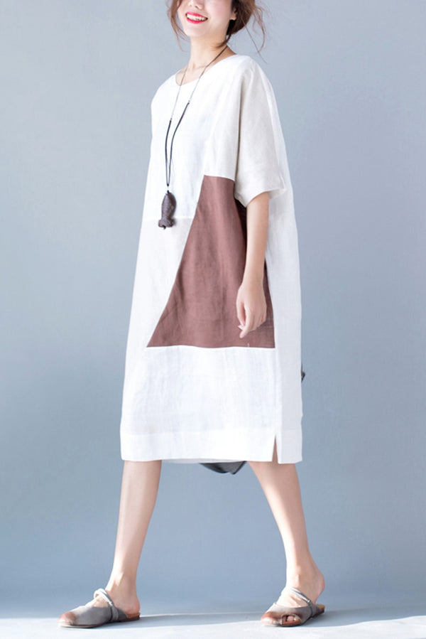 Summer Casual Bat Sleeve Quilted Cotton Linen Women Dress Q7051