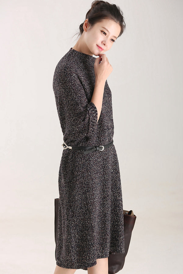 Women Elegant Knitted Cotton Linen Long Dresses Fall Clothes Q8255