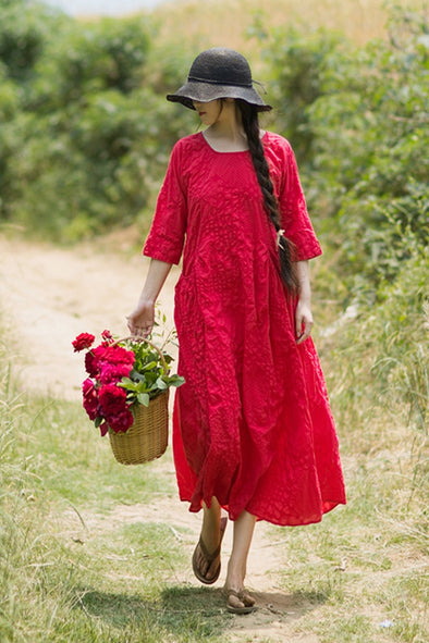 Vintage Maxi Red Dresses Women Cotton Clothes Q1162