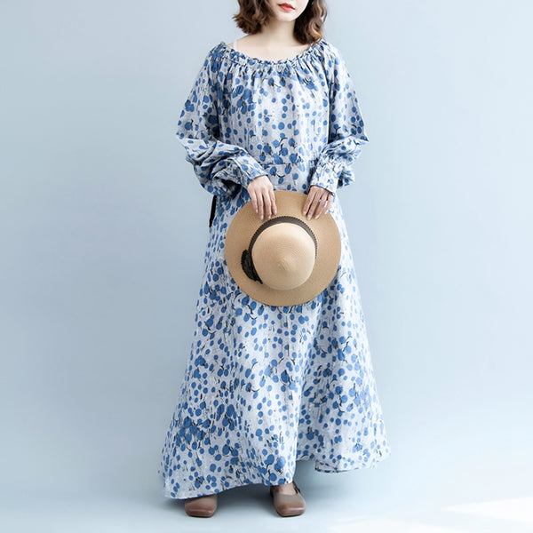 Fashion Blue Cotton Linen Maxi Dresses Women Fall Clothes Q2080