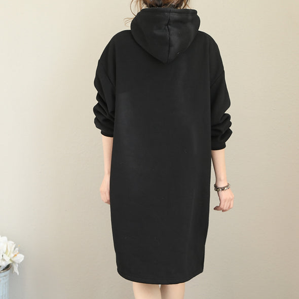 Casual Hoodie Brushed Thicken Fleece Dresses For Women Q1822
