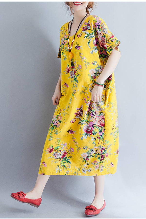 Plus Size Yellow And Red Casual Dresses For Women  Q1645 - FantasyLinen