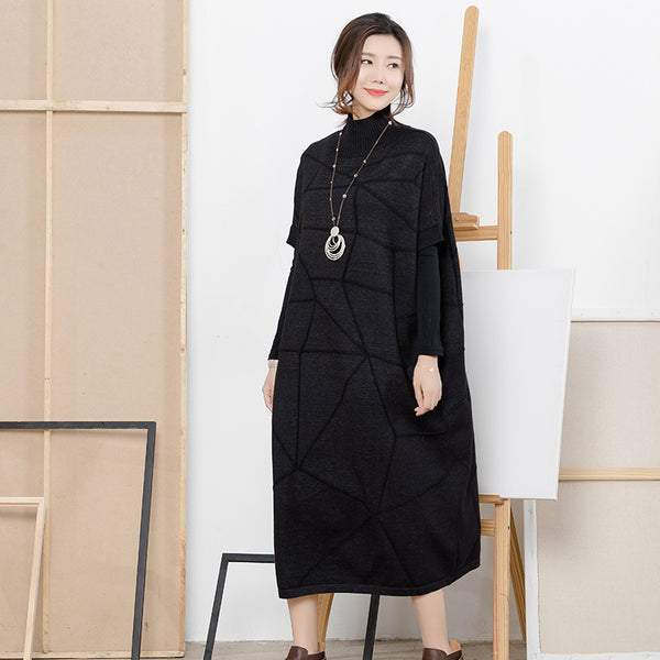Loose Black Half Sleeve High Neck Sweater Dresses For Women Q2217