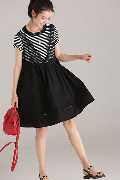Cute Lace Quilted Striped Black Dresses Women Cotton Clothing Q1884