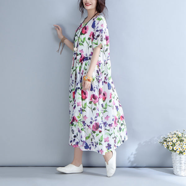 Casual Round Neck Floral Linen Long Dress Q1555 - FantasyLinen