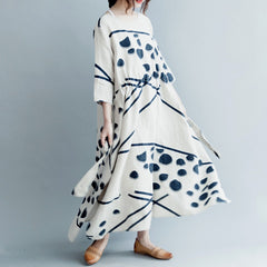 Summer Women Asymmetrical Linen Long Dress Loose Clothes Q3042