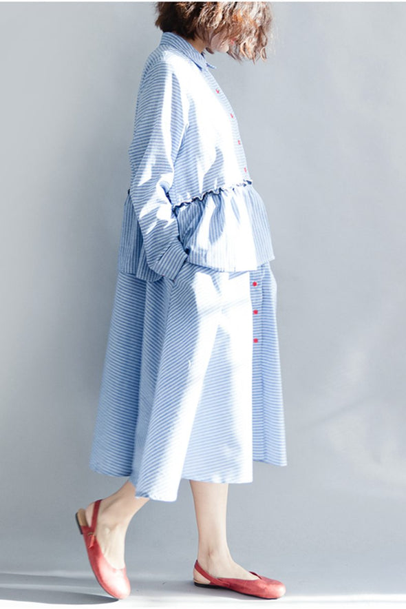 Blue Striped Long Sleeves Cute Dresses For Women Q1642 - FantasyLinen