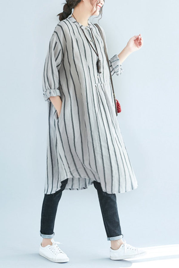 Cotton Striped Loose Women Summer Long Shirt Dresses Q1646 - FantasyLinen