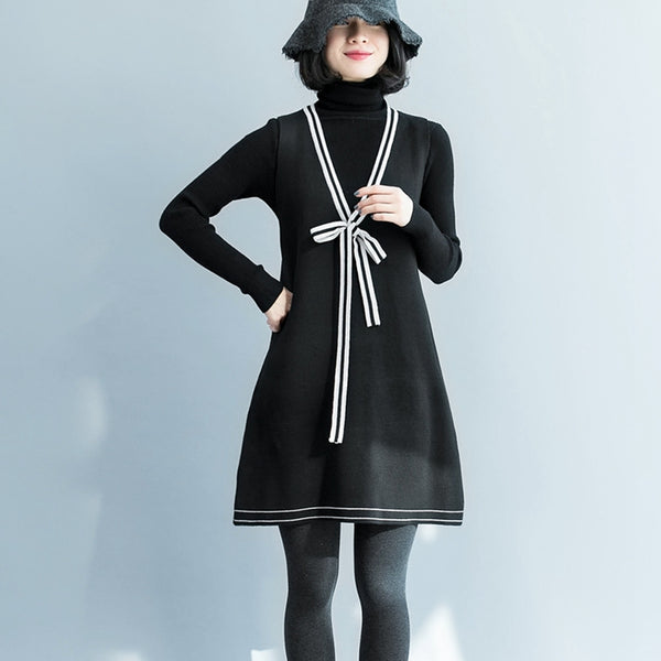 Elegant Wool Black Knitwear With Sleeveless Knitted Dresses For Women S1210