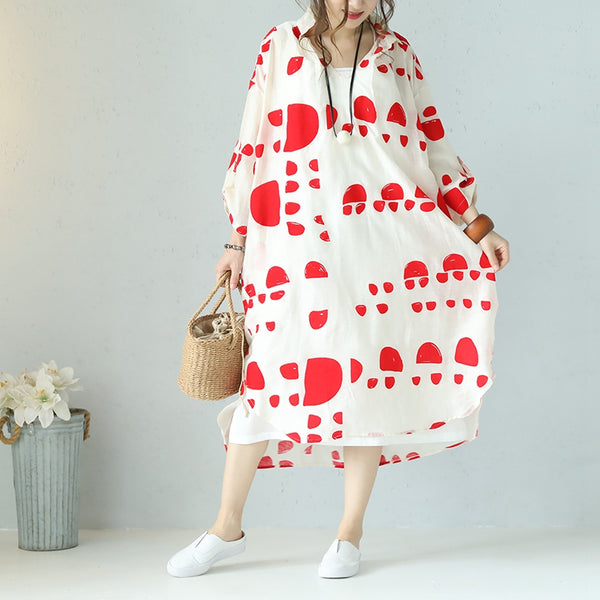 Plus Size Casual Loose Summer Red Dot Black Silk Linen Long Dresses Women Clothes Q1112