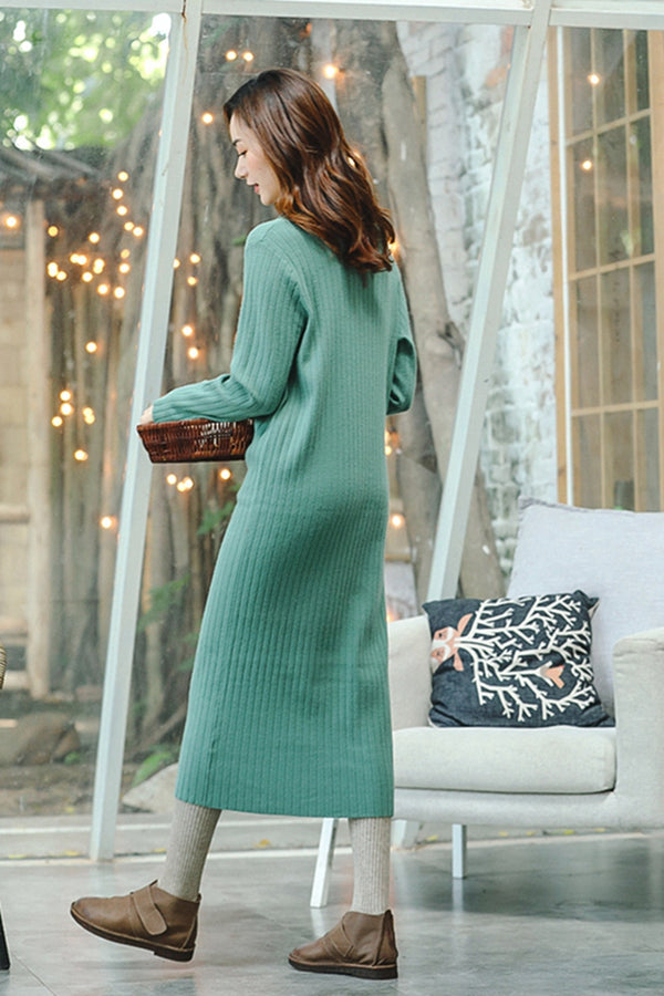 Loose Knitted Maxi Dresses Women Fall Clothes Q8911