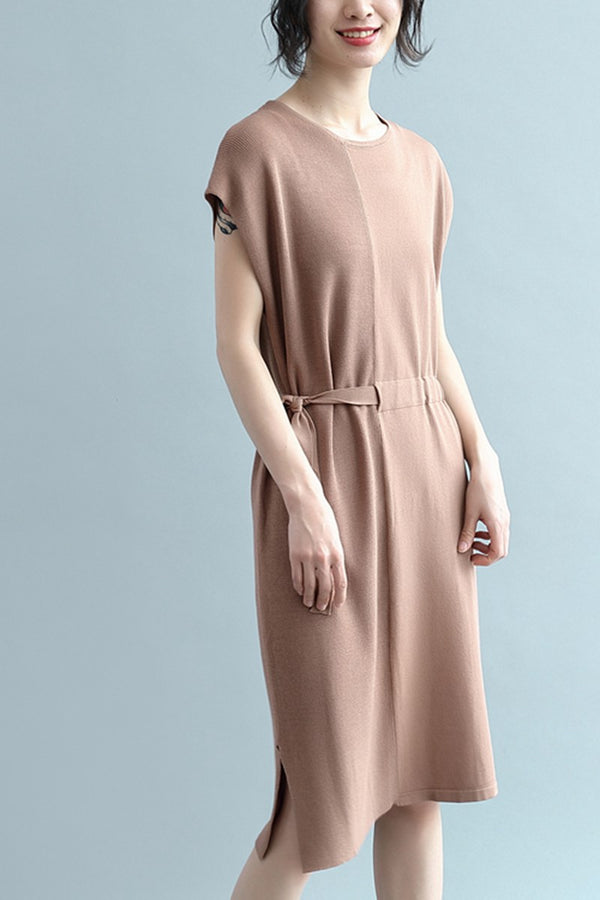 Women Summer Elegant Sleeveless Linen Long Dresses Q2342