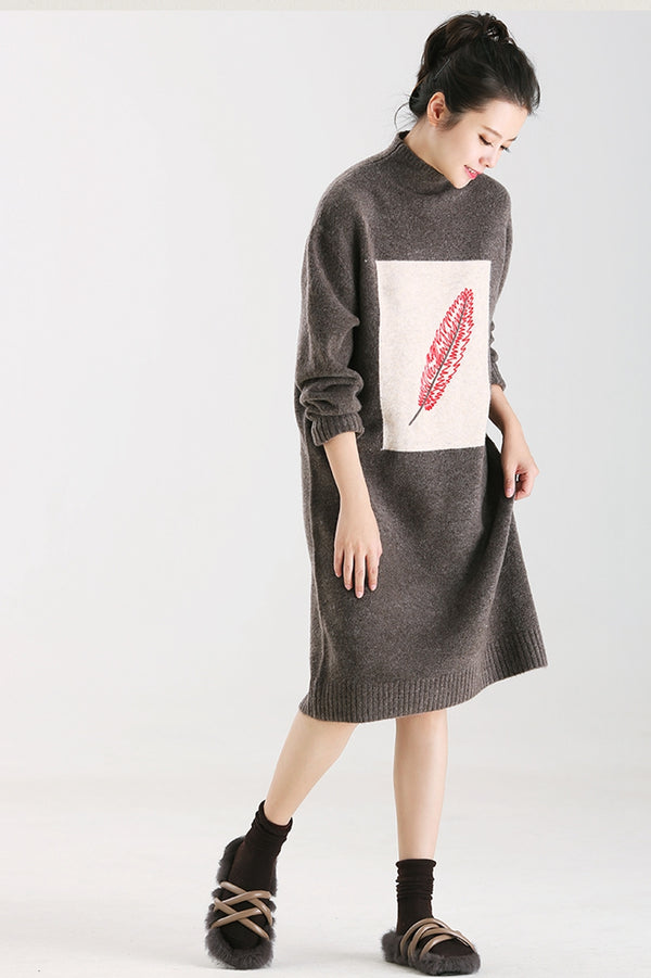 Women High Neck Coffee Print Dresses Warm Clothes M8637