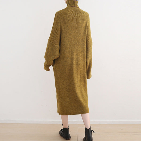 Women High Neck Pure Color Maxi Sweater Dresses Q2315